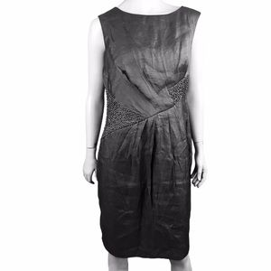Adrianna Papell Silver Grey Beaded Lined Dress